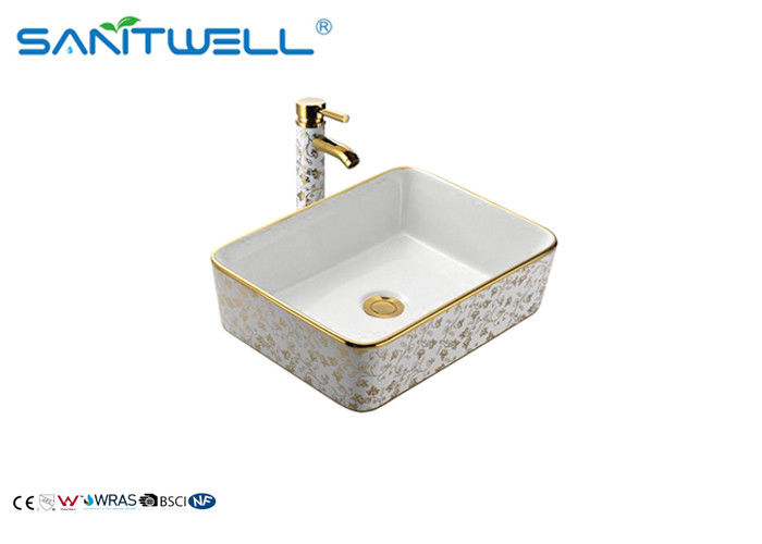 Table Top Golden Ceramic Art Basin For Lavatory AB8025D 500×500×165mm