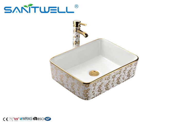 Bathroom Ceramic Art Counter Top Wash Basin 500×500×165mm Gold And White Color