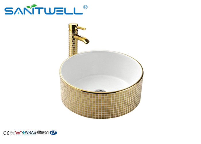 Golden Decal Ceramic Wash Basin / Various Colors Porcelain Bathroom Basin AB8118D